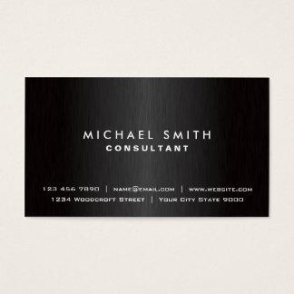 Metal moderno preto liso profissional elegante cartão de visitas