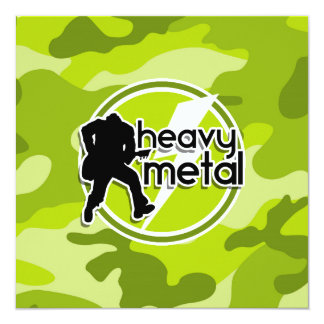 Metal pesado; camo verde-claro, camuflagem convite quadrado 13.35 x 13.35cm