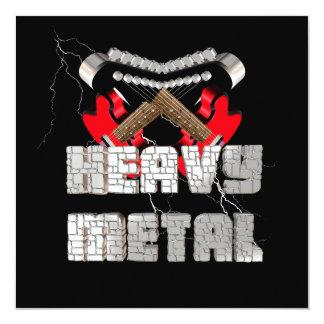 Metal pesado convite quadrado 13.35 x 13.35cm