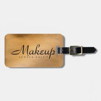 Metálico de cobre do maquilhador etiqueta de bagagem