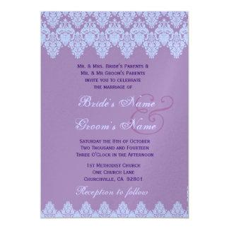 Metálico superior do casamento tema damasco roxo convites