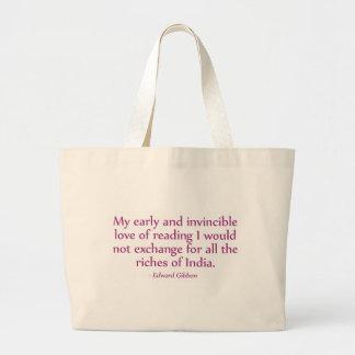 Meu amor adiantado e invencível da leitura sacola tote jumbo