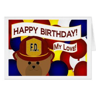 Meu amor - herói do sapador-bombeiro do feliz cartão comemorativo
