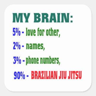 Meu brasileiro Jiu Jitsu. do cérebro 90% Adesivos Quadrados