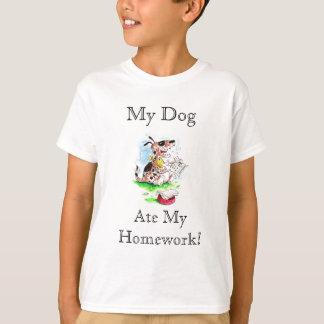 Meu cão, comeu minha camisa dos trabalhos de casa