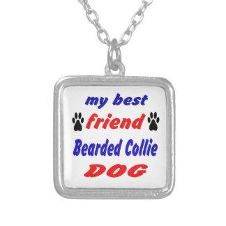 Meu cão farpado do Collie do melhor amigo Colar Com Pendente Quadrado