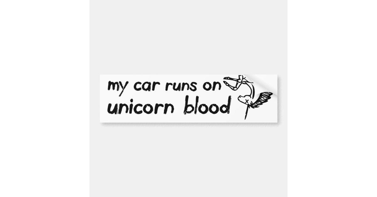 Adesivo De Unha Da Minnie Infantil ~ Meu carro funciona no sangue do unicórnio adesivo para carro Zazzle