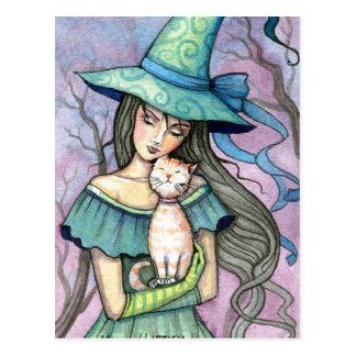 Meu cartão doce do gato da bruxa do gato malhado