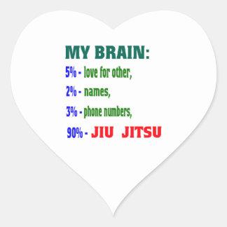 Meu cérebro 90% Jiu-Jitsu. Adesivos De Corações