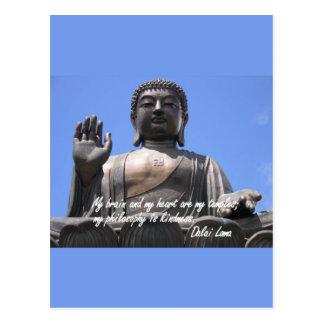 Meu cérebro e meu coração são meus templos Dalai Cartão Postal