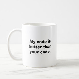 Meu código é melhor do que seu código caneca de café