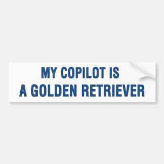 Meu copiloto é um golden retriever adesivo para carro