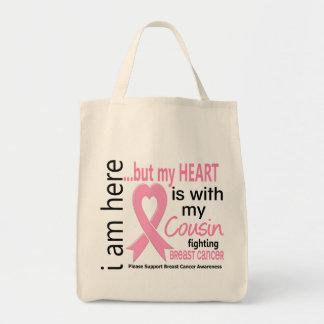 Meu coração é com meu cancro da mama do primo bolsa para compras