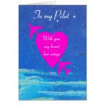 Meu coração Namorados-cor-de-rosa piloto no céu Cartão