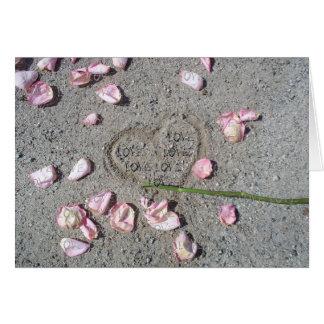 Meu coração no CARTÃO do AMOR da areia