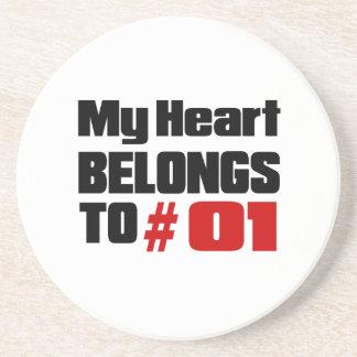 Meu coração pertence # a 01 porta copos de arenito
