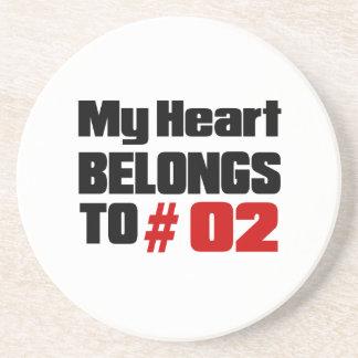 Meu coração pertence # a 02 porta copos de arenito
