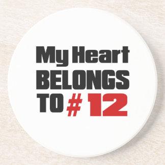 Meu coração pertence # a 12 porta copos de arenito