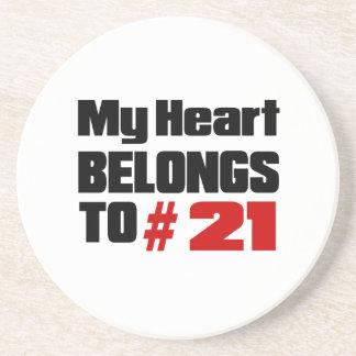Meu coração pertence # a 21 porta copos de arenito