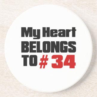 Meu coração pertence # a 34 porta copos de arenito
