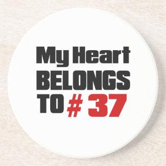 Meu coração pertence # a 37 porta copos de arenito