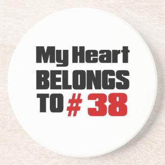 Meu coração pertence # a 38 porta copos de arenito
