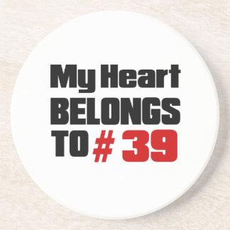 Meu coração pertence # a 39 porta copos de arenito