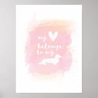 Meu coração pertence a meu poster da aguarela dos pôster