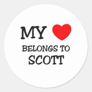 Meu coração pertence a Scott Adesivos Em Formato Redondos