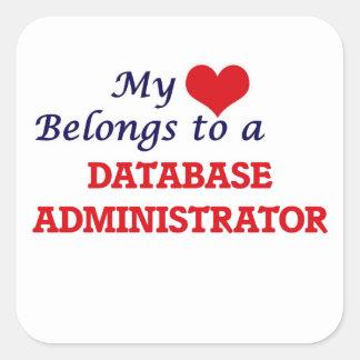 Meu coração pertence a um administrador de base de adesivo quadrado