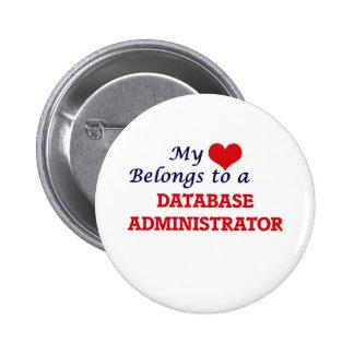 Meu coração pertence a um administrador de base de bóton redondo 5.08cm