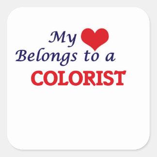 Meu coração pertence a um Colorist Adesivo Quadrado