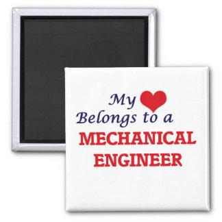 Meu coração pertence a um engenheiro mecânico ímã quadrado