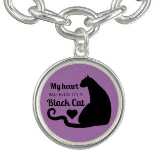 Meu coração pertence a um gato preto braceletes com pingente