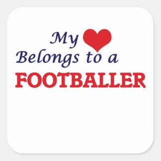 Meu coração pertence a um jogador de futebol adesivo quadrado