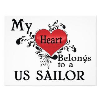 Meu coração pertence a um marinheiro dos E U Convite