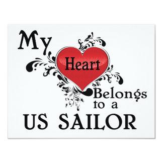 Meu coração pertence a um marinheiro dos E.U. Convite 10.79 X 13.97cm