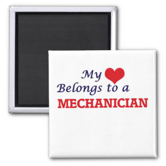 Meu coração pertence a um Mechanician Ímã Quadrado