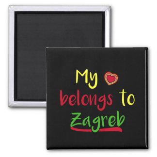 Meu coração pertence ao ímã do croata de Zagreb Ímã Quadrado