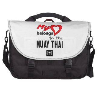 Meu coração pertence ao tailandês de Muay Bolsas Para Computador Portátil