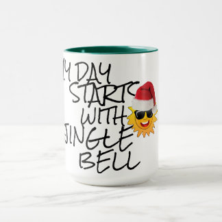 meu dia começa com a caneca do Natal do sino de