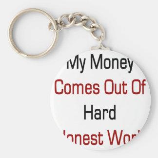 Meu dinheiro sai do trabalho honesto duro chaveiros
