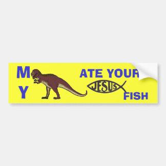 Meu dinossauro comeu seus peixes de Jesus Adesivo Para Carro