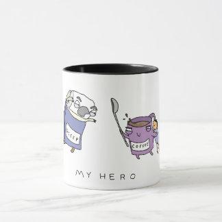Meu herói, caneca de café cómica engraçada do café