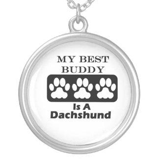 Meu melhor amigo é um Dachshund Colar Com Pendente Redondo