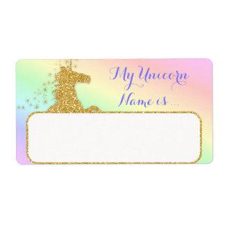 Meu nome do unicórnio é arco-íris & ouro da etiqueta de frete