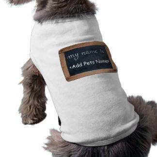 Meu nome é - roupa personalizada dos animais de camisa sem mangas para cachorro