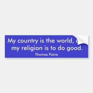 Meu país é o mundo, e minha religião é… adesivo para carro