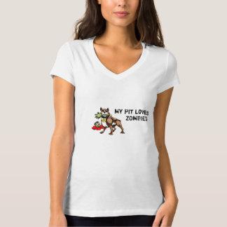Meu pitbull ama a camisa dos zombis - slogan tshirts
