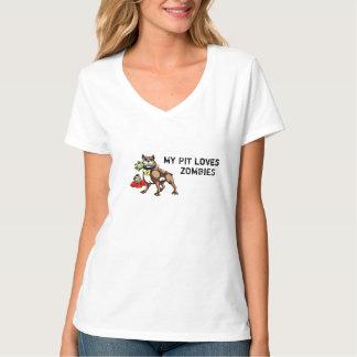 Meu pitbull ama a camiseta dos zombis - slogan